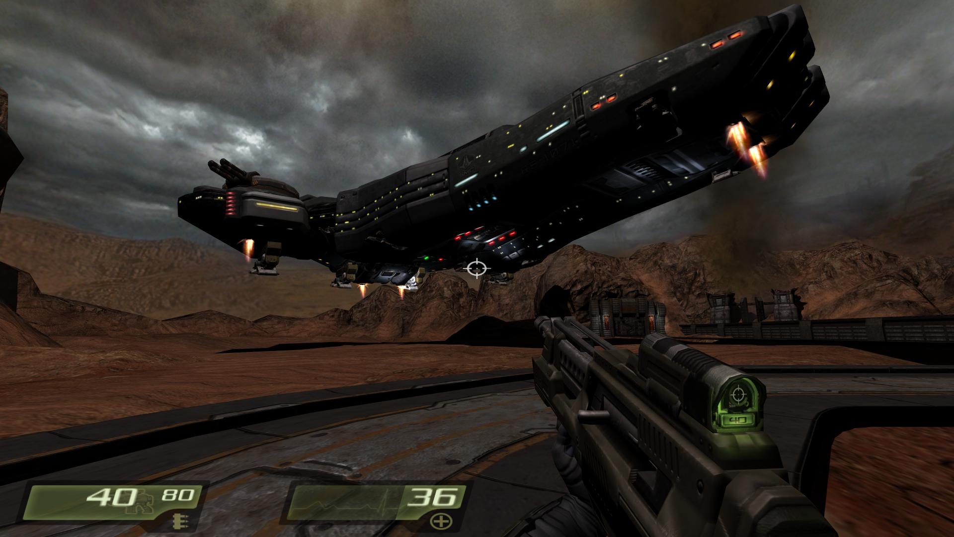 The gigantic USS Hannibal landing on Stroggos' desolate surface
