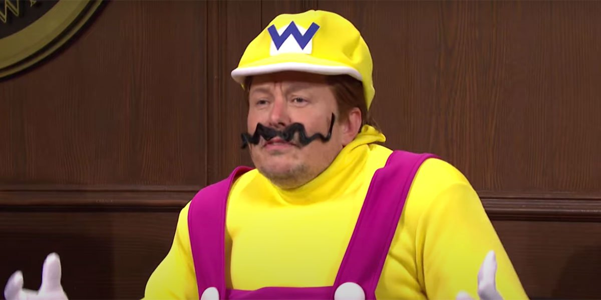Elon Musk dressed as Wario on the witness stand.