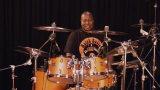 Ralph Rolle of Nile Rodgers & Chic sat at Yamaha Tour Custom drum kit