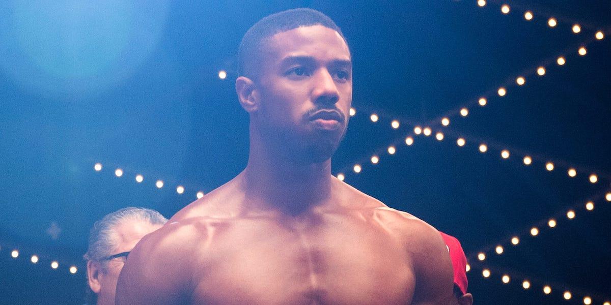 Shirtless Michael B. Jordan in Creed 2