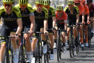 Adam Yates sits behind his Mitchelton-Scott teammates