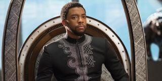 Chadwick Boseman as T'Challa seeing on his throne in Black Panther