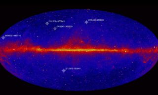 NASA's Fermi spacecraft has detected the five most distant blazars ever (their locations are seen here in a NASA video still). The blazars date back to when the universe was between 1.9 and 1.4 billion years old.