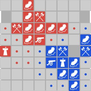 Bacteria in battle chess board.
