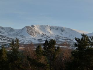 Cairngorm Mountains with snow.