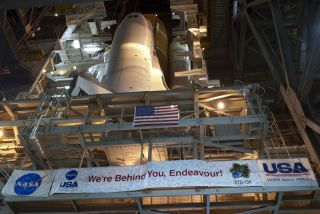 Space shuttle Endeavour begins its slow move from High Bay 3 in the Vehicle Assembly Building to Launch Pad 39A at NASA's Kennedy Space Center in Florida.