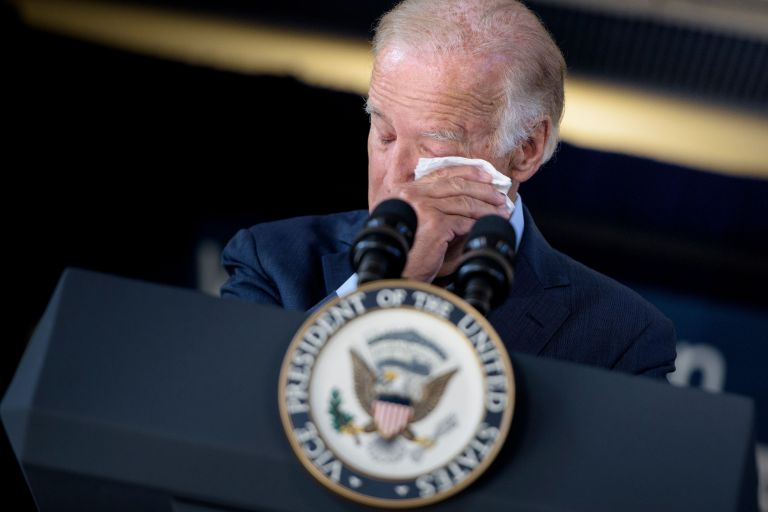 US Vice President Joe Biden cries while speaking about the death of his son and the support he received from Amtrak employees at Amtrak's Joseph R. Biden, Jr., Railroad Station onAugust 26, 2016 in Wilmington, Delaware