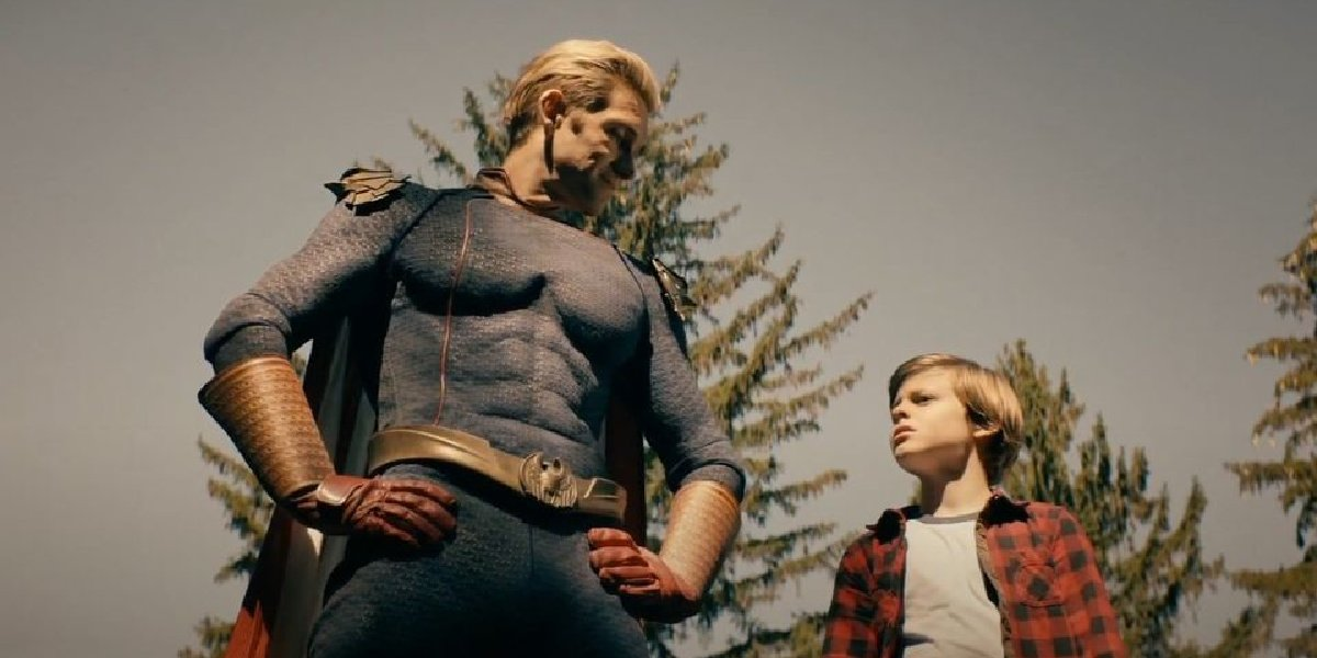 Homelander and his son on the roof in The Boys.