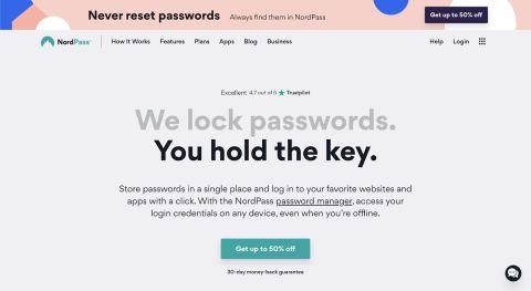 NordPass review - NordPass' homepage