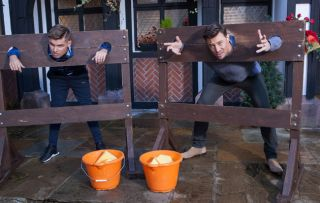 Ste and Ryan get a thrashing from wet sponges in Hollyoaks!