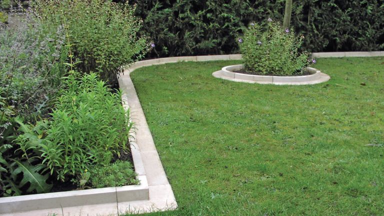 lawn edging ideas: real stone Arcadian lawn edging by Haddonstone