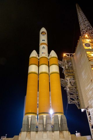 A huge Delta 4-Heavy rocket stands poised to blast off from Space Launch Compex 6 at Vandenberg Air Force Base in California on Jan. 20, 2011. The mission marked the first launch of the largest rocket launch ever from the U.S. West Coast.