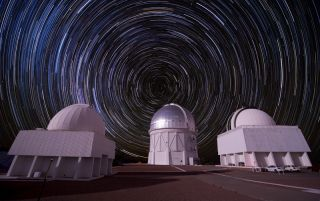 Composite picture of stars over the Cerro Tololo Inter-American Observatory in Chile.