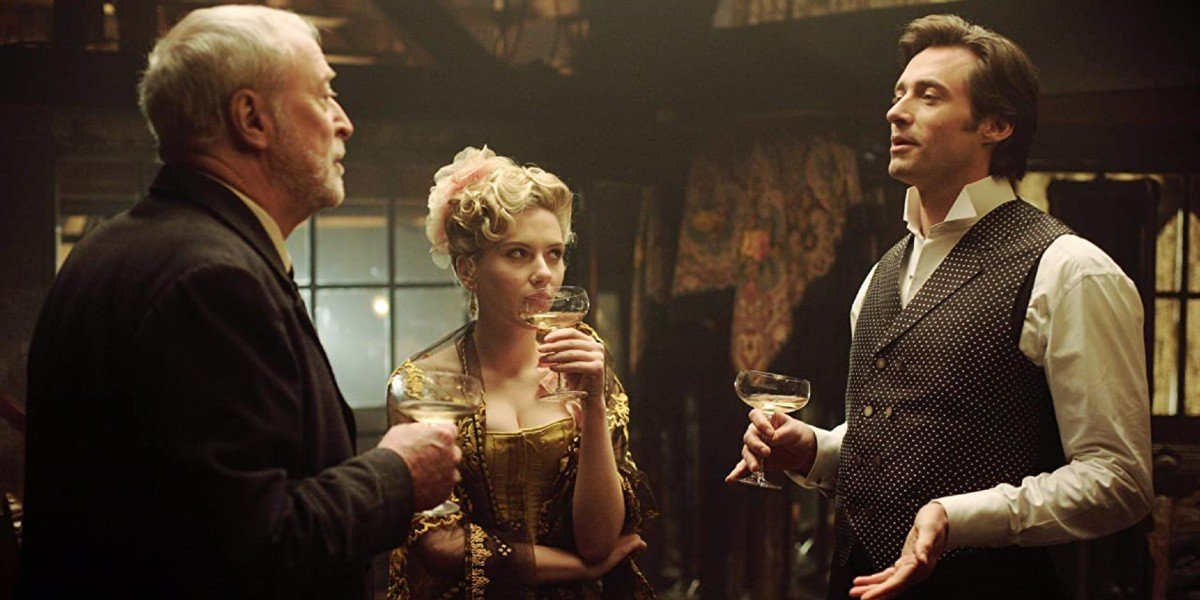 Michael Caine, Scarlet Johansson and Hugh Jackman in The Prestige
