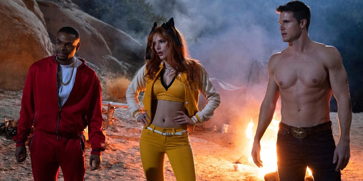 Bella Thorne, Robbie Amell, and Andrew Bachelor in The Babysitter: Killer Queen
