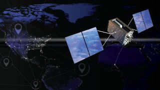 An artist's impression of a Global Positioning System (GPS) satellite in orbit.