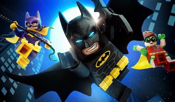 Lego Batman, Lego Batgirl, and Lego Robin flying into action