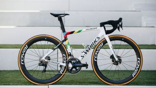 Tarmac SL7 gets rainbow stripes along the triangle junctions for the world champions'