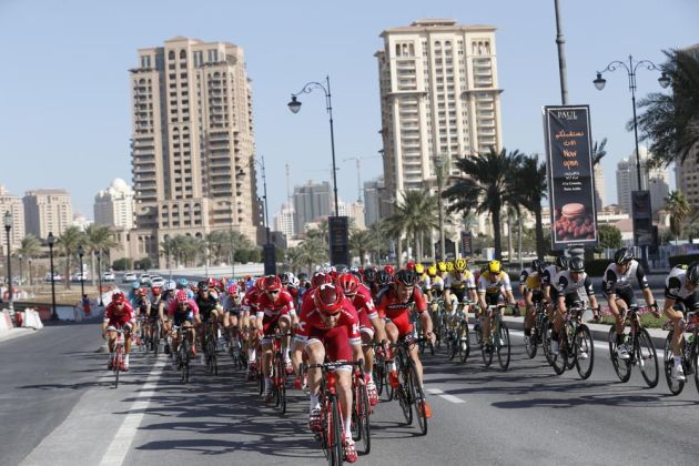 Katusha on stage two of the 2016 Tour of Qatar