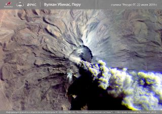 Russia's Resurs-P satellite has captured Peru's most active volcano in the middle of an eruption that affected thousands of people.