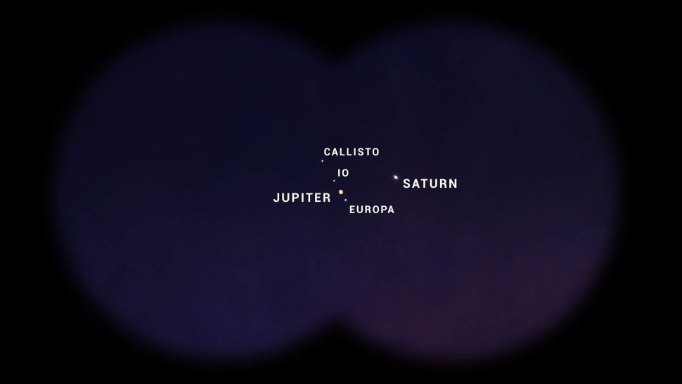 """On Dec. 21, 2020, Jupiter and Saturn will appear just one-tenth of a degree apart, or about the thickness of a dime held at arm's length, according to NASA. During the event, known as a """"great conjunction,"""" the two planets (and their moons) will be visible in the same field of view through binoculars or a telescope."""