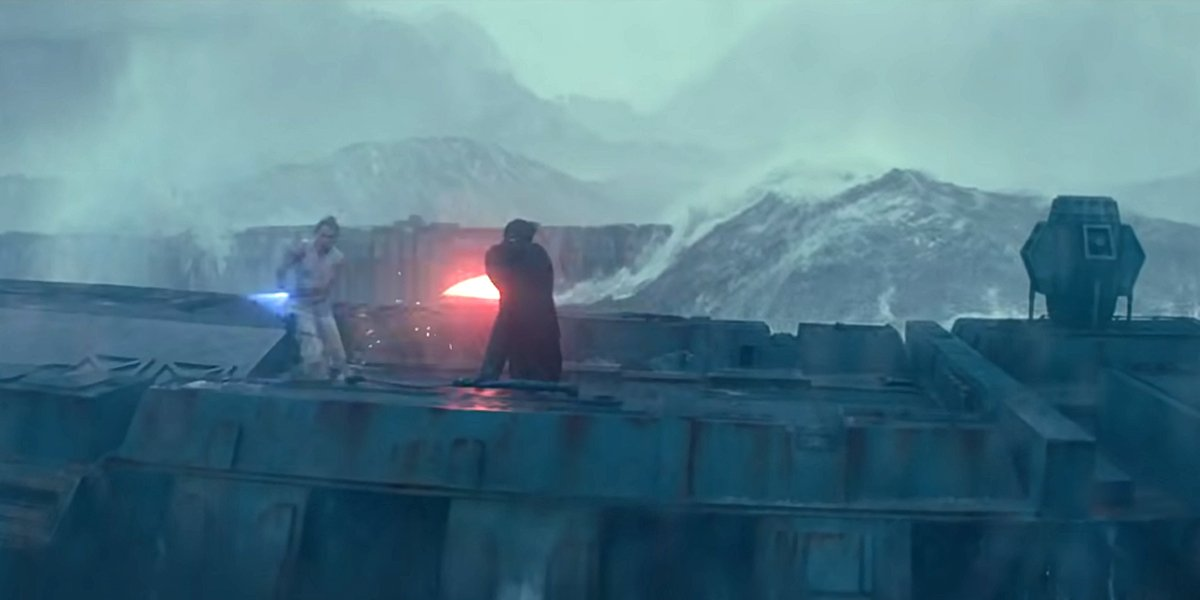 Rey fights Kylo on remnants of Death Star on ocean moon Kef Bir