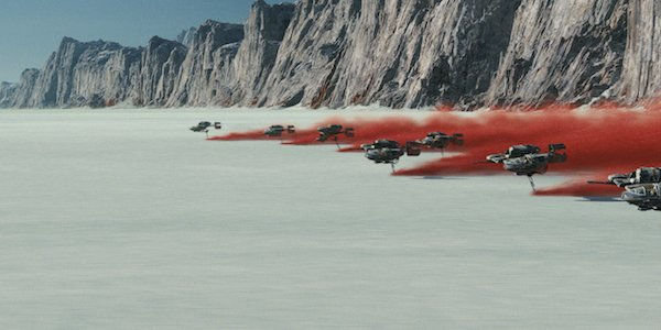 Speeders flying on Crait in Star Wars: The Last Jedi