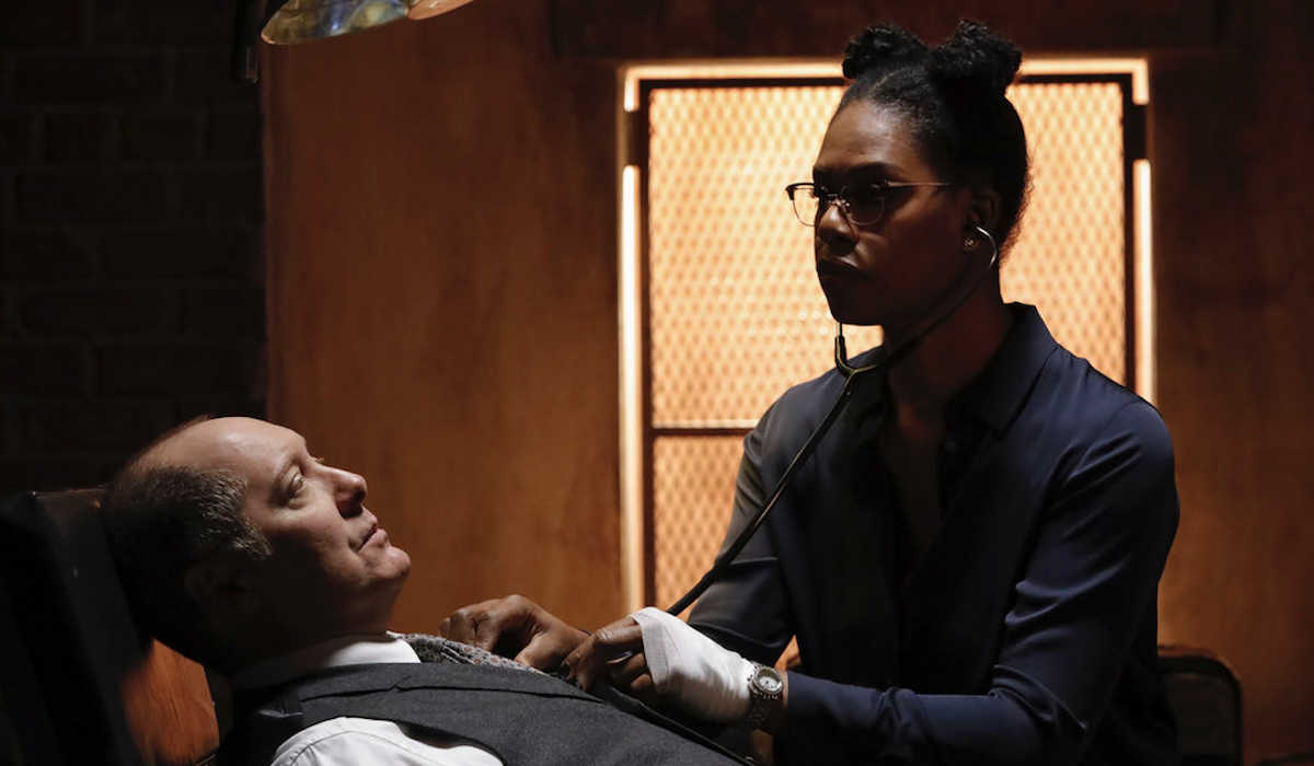 laverne cox checking james spader's heartbeat on the blacklist