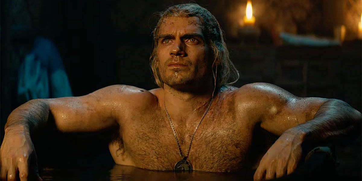 Geralt in a tub on The Witcher because everyone loves Geralt in a tub.