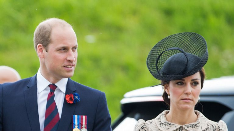 THIEPVAL, FRANCE - JULY 01: French President, Francois Hollande, Prince William, Duke of Cambridge and Catherine, Duchess of Cambridge attend the commemoration of the Battle of the Somme at the Commonwealth War Graves Commission Thiepval Memorial on July 1, 2016 in Thiepval, France. (Photo by Pool/Samir Hussein/WireImage)