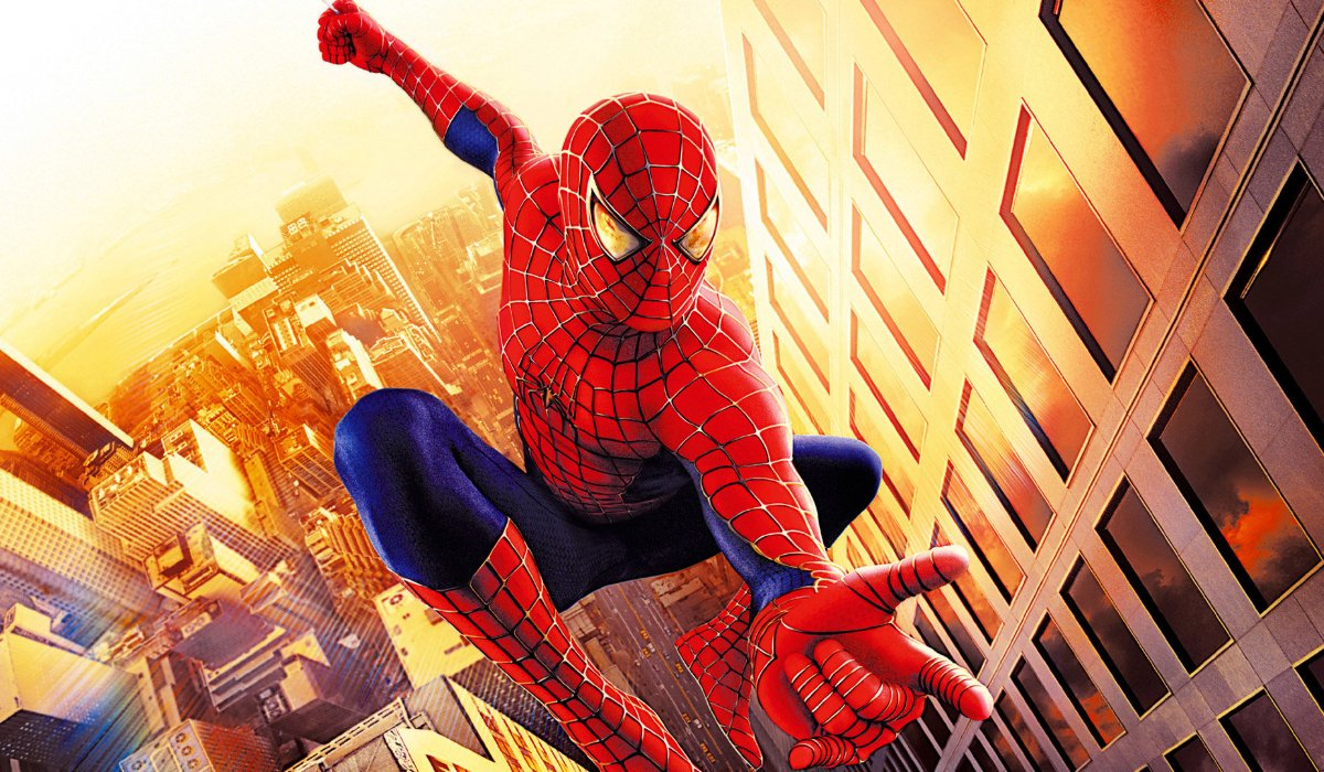 Spider-Man 2002 web-slinging in the city