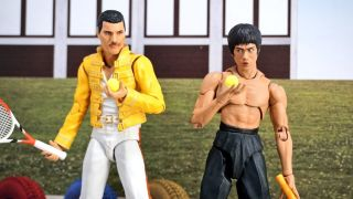Someone has created an alternative world using Freddie Mercury and Bruce Lee toys
