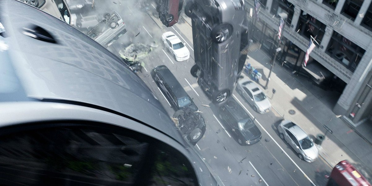The epic zombie car scene in The Fate of the Furious