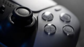 A close up image of a PlayStation 5 controller.