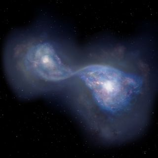 Artist's impression of the merging galaxies, together forming the object B14-65666, located 13 billion light-years away.