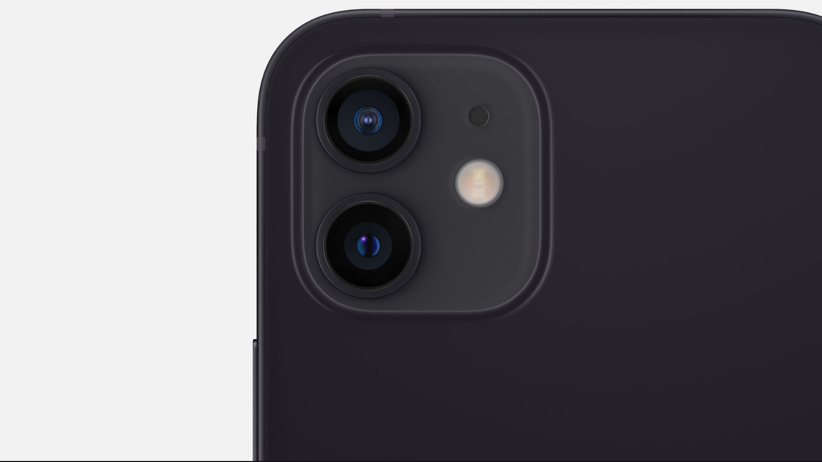 Close up of the rear cameras on the iPhone 12