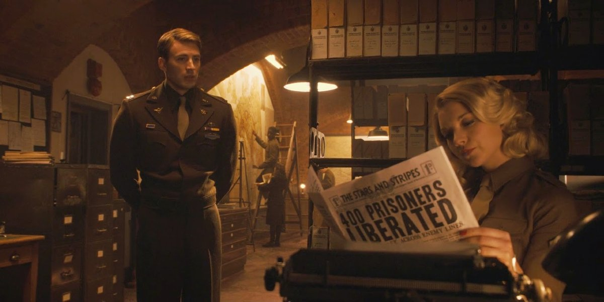 Chris Evans and Natalie Dormer in Captain America: The First Avenger