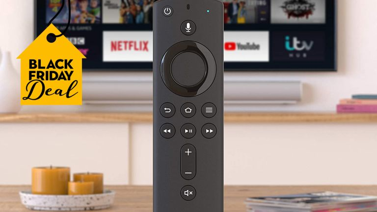 Black Friday Fire TV Stick: All-new Fire TV Stick close up in front of TV