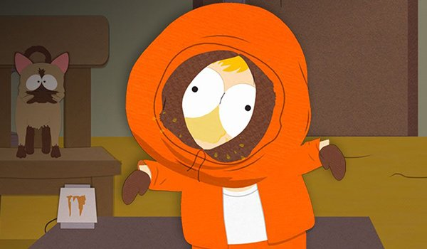 Kenny is cheesing on South Park