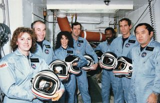 The crew of the space shuttle Challenger's STS-51L mission, which ended in tragedy shortly after launch on Jan. 28, 1986. They are (from left to right): Christa McAuliffe, Gregory Jarvis, Judy Resnik, Dick Scobee, Ronald McNair, Michael Smith and Ellison