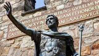Bronze statue of Roman Emperor Antoninus Pius in Hesse, Germany.