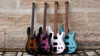 A collective shot of Harley Benton's Dullahan headless guitar range