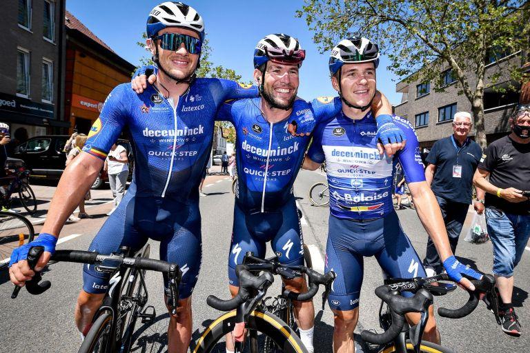 Yves Lampaert, Mark Cavendish and Remco Evenepoel at the Belgium Tour