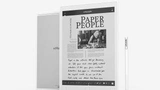 reMarkable tablet and pen with an annotated article on the tablet's screen
