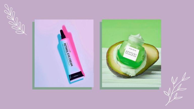 The Inkey List and Glow Recipe products show the benefits of retinol eye cream