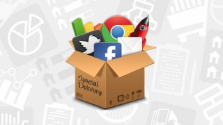 Delivery box filled with social media icons