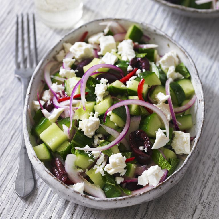 Cucumber salad with feta, black olives and mint recipe-recipe ideas-new recipes-woman and home