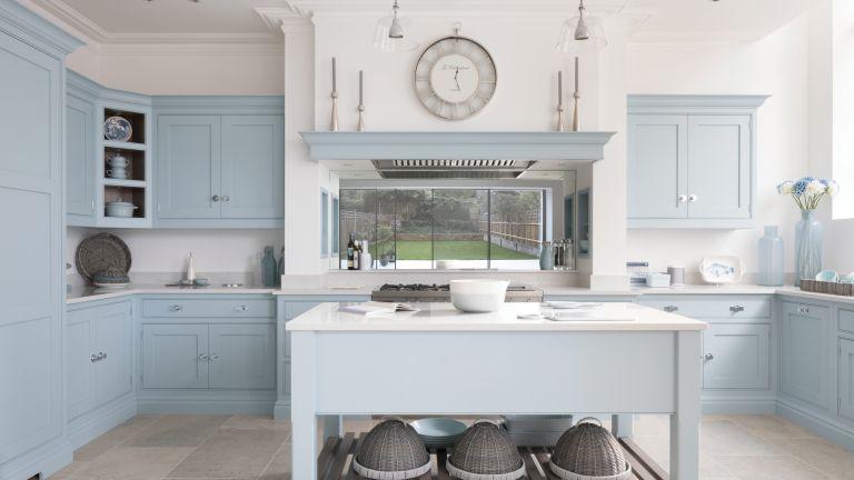 Powder blue kitchen designed by Tom Howley