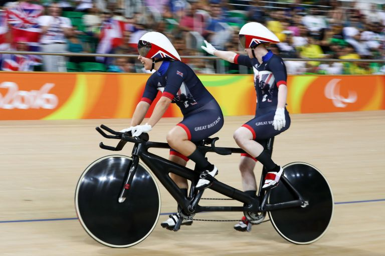 Two tandem track riders at the Rio 2016 Olympic Games