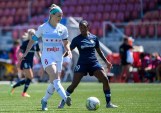 U.S. Women's National Team members Julie Ertz, left, and Crystal Dunn will face off in the 2021 NWSL Challenge Cup when their teams play on April 15.